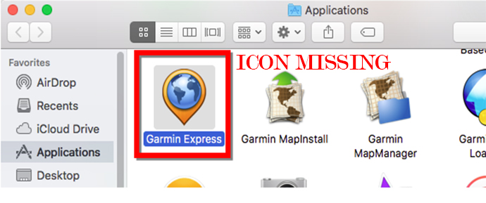 Garmin Express Missing Icon Issue
