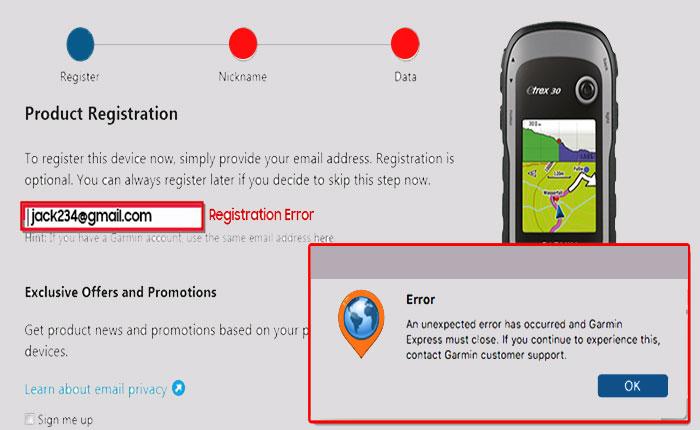 Garmin registration error