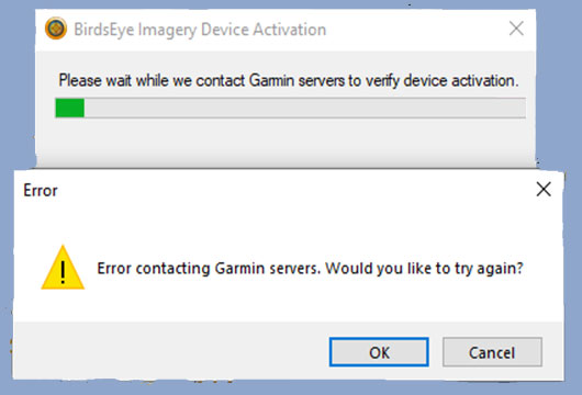 Garmin map server error